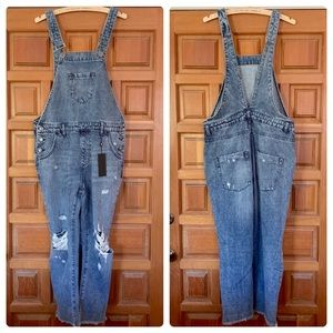 One Teaspoon distressed cropped denim overalls